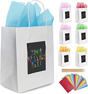 7 White Gift Bags with Scratch Paper Panel for Customisation, Tissue Paper Also Included! These Unique Bulk Bags with Handles are Great as Small Gift Bags, Party Favor Bags, and Kraft Paper Bags