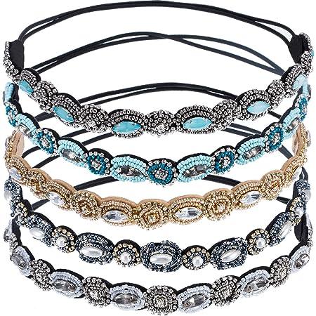 BEACHGIRL Bands Gold Rhinestone Beaded Elastic Headband Adjustable Non-Slip Jeweled Head Wraps For Women