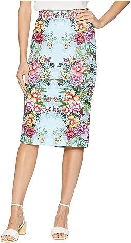 Floral Obsessed Midi Scuba Skirt