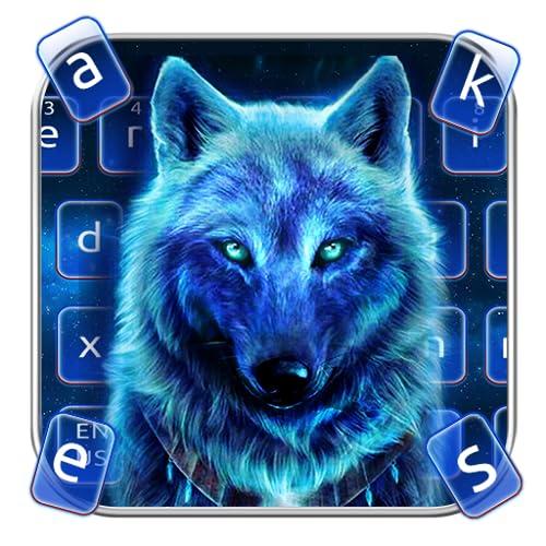 Wild Cyan Neon Wolf Keyboard Theme