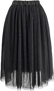 Falda Tul para Mujer 4 Capas de Tul Cintura Elástica Elegante Romántica de Fiesta Boda