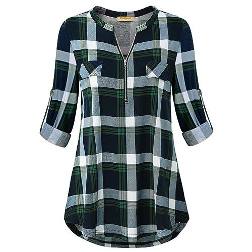 ec9c6a3345a Baikea Women's 3/4 Rolled Sleeve Zipped V Neck Plaid Shirt Casual Tunic  Blouses