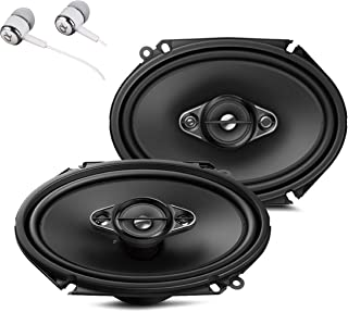 "Pioneer TS-A6880F 6"" x 8"" 350 Watts Max Power A-Series 4-Way Car Audio Coaxial Speakers Pair with Fiber Cone Midrange / FREE ALPHASONIK EARBUDS"