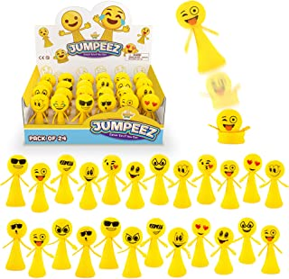 Jumping Emoji Popper Spring Launchers Toys - Cute Bouncy Party Favors for Kids - Unique Stress Relief Squishy Mini Toys - Party Supplies and Goodie Bag Fillers - 24 Figurines in a Beautiful Display Box - Stocking Stuffers