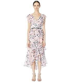 d878ae0c Marchesa Notte Bishop Sleeve Printed Velvet Burnout Cocktail Dress ...