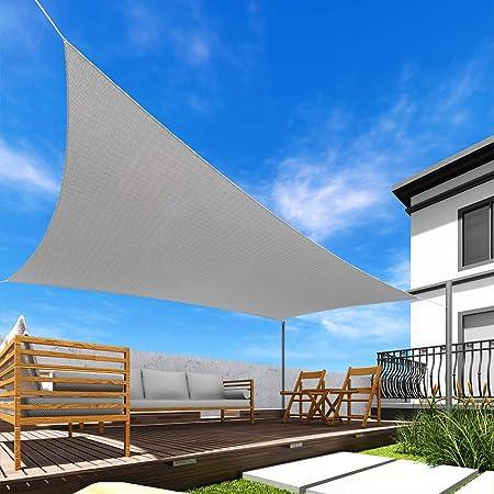 Windscreen4less 5' x 9' Rectangle Sun Shade Sail - Solid Light Grey Durable UV Shelter Canopy for Patio Outdoor Backyard - Custom Size
