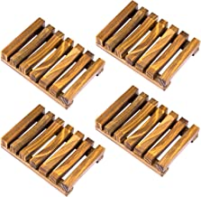 Awpeye 4 Pieces Bathroom Natural Wooden Soap Case Holder, Hand Craft Bathtub Shower Dish Accessories
