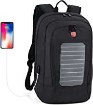 Laptop Backpack, Fanspack Solar Powered Backpack with USB Charging Port Waterproof Oxford Travel Backpack School Daypack for 15.6 inch Laptop and Notebook (Black)