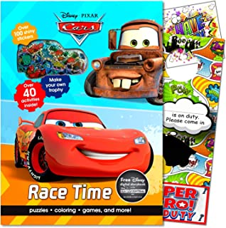 Disney Cars 3 Coloring Book and Stickers Set Bundle Includes Cars Lightning McQueen Activity Book Cars Stickers & Separately Licensed Specialty Jumbo Reward Sticker & Superhero Door