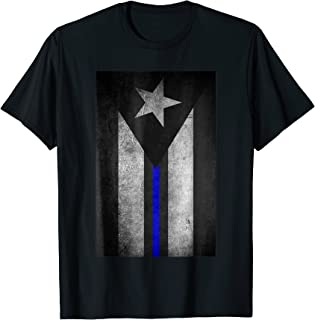 Puerto Rico Flag Police Thin Blue Line TShirt Dirty