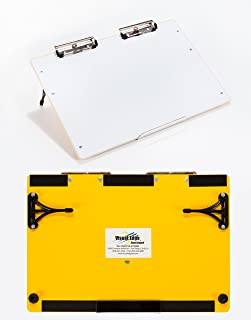Visual Edge Slant Board (Yellow), A Sloped Work Surface for Writing, Reading, Art and Speech for Optimal Learning - Portable Desktop Magnetic Dry Erase White Board with Clipboard for Kids