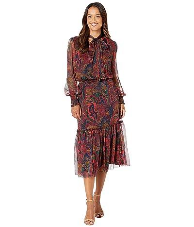LAUREN Ralph Lauren Tie Neck Georgette Dress (Lauren Navy Multi) Women