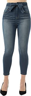 Almost Famous Women's Juniors Super High Rise Belted Crop Skinny Jeans