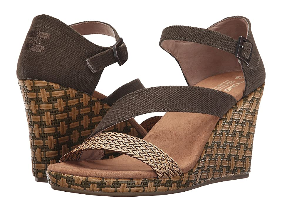 TOMS Clarissa Wedge (Olive Textile/Wrapped) Women