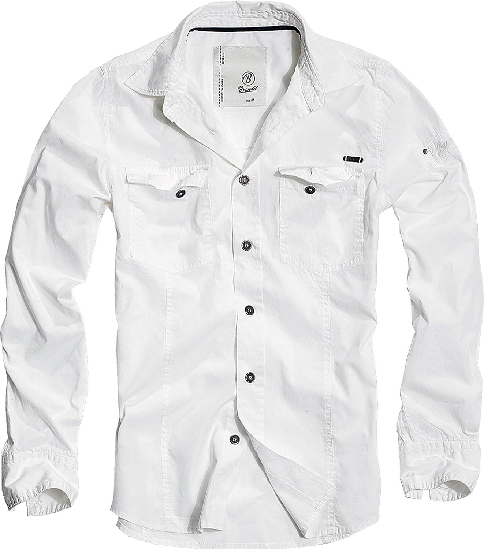 Brandit Slim Fit Long Sleeve Shirt Mens Vintage Military Casual Cotton Dark Camo