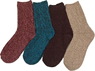 Lovely Annie Women's 4 Pairs Pack Fashion Soft Wool Crew Socks Size 6-9 AHR1613(Black)