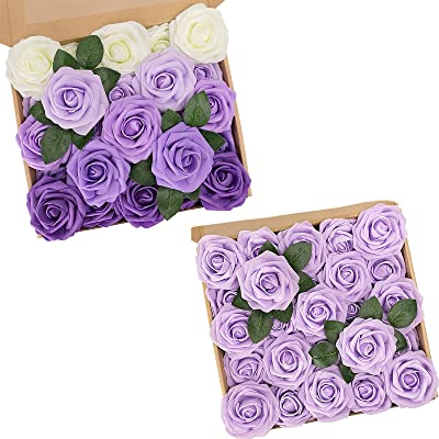 N&T NIETING Artificial Flowers, 25Pcs Purple Fake Foam Roses with Stems for Wedding Bridesmaid Bridal Bouquets Centerpieces Home Decoration