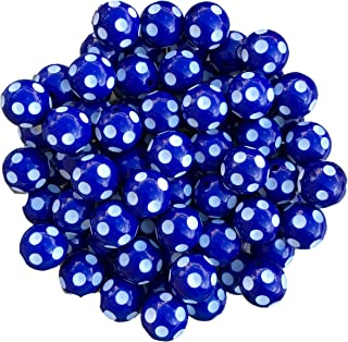 20mm Polka Dots 25 Count Chunky Bubble Gum Acrylic Beads Bulk Wholesale Pack Necklace Kit (Royal Blue)