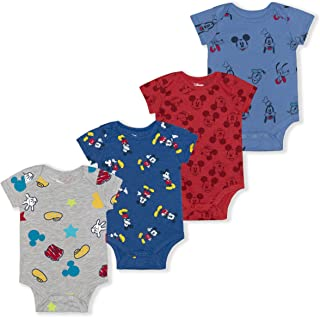 Boy's 4-Pack Mickey and Friends Bodysuit Creeper with 12...