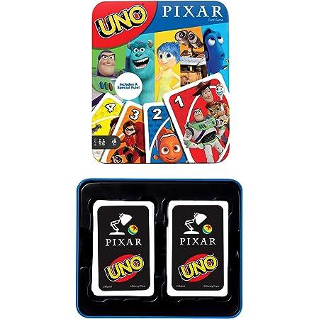 Mattel Games UNO Pixar Juego de Cartas de 25º Aniversario con 112 Cartas e Instrucciones en Lata de Almacenamiento para Jugadores de 7 años y Mayores, Regalo para niños, Familia y Adultos