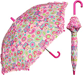 Pink Owl Umbrella for Girls - Manual Open and Close 32 inch - by Adjore