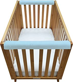 """Go Mama Go Organic Teething Guard Protects Baby and Crib, Blue/White, 30"""" x 6"""""""