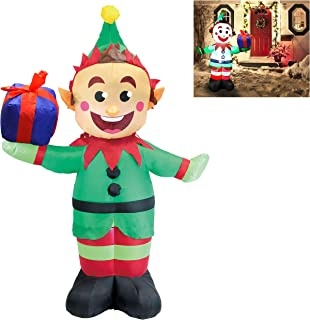 e15e23418d385 Joiedomi 5 Foot Elf with Present Inflatable LED Light Up Christmas Xmas for  Blow Up Yard