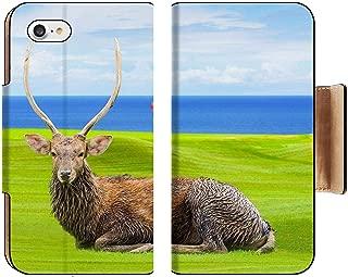 Liili Premium Apple iPhone 8 Flip Pu Wallet Case Chital Deer Spotted Deer Axis Deer on Green Image ID 39491092