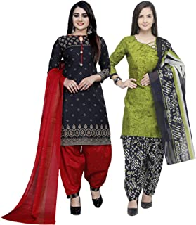 Rajnandini Women's Black And Light Green Cotton Printed Unstitched Salwar Suit Material (Combo Of 2) (Free Size)
