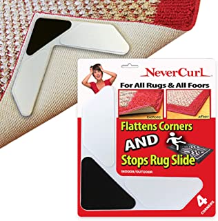 3 Layer Rug Corners Grippers Only by NeverCurl - Instantly Stops Slipping and has Stiff Layer to Prevent Curling - USA Pat...