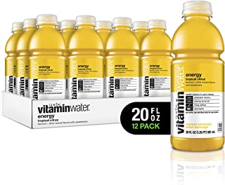 vitaminwater Electrolyte Enhanced Water with Vitamins, Energy Tropical Citrus, 20 Fluid Ounce (Pack of 12)