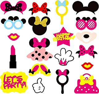 MALLMALL6 Minnie Photo Booth Props Party Table Centerpieces Decorations Kids Birthday Party Favor Dress up Accessories and Theme Party Decorations 20 Count