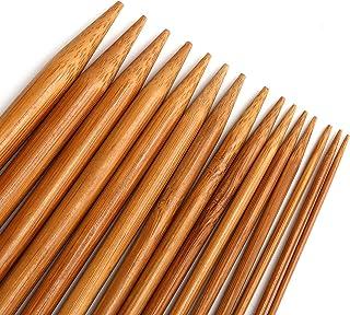 【75本セット】手あみ針 カギ針 編み針 棒針 くつした針 セット 竹製 2.0㎜から10.㎜まで 15サイズ 20cm 煤竹色 セーター 編み物 手芸 工具