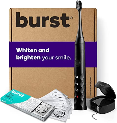 wholesale BURST Bundle, Sonic Electric Toothbrush with Mint new arrival Eucalyptus Flavored Charcoal Floss and Whitening Strips, Black [Packaging May high quality Vary] outlet sale