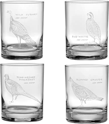 Ned Smith Upland Gamebirds 14-Ounce (DOF) Double Old Fashioned Glass Assorted Set