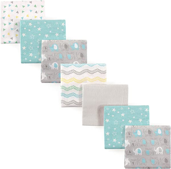 Luvable Friends Unisex Baby Flannel Receiving Blankets 7 Pack Basic Elephant One Size