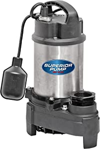Superior Pump 92181 1HP Stainless Steel and Cast Iron Tethered Float Switch Sump Pump, 1 HP, Silver