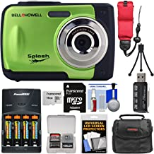 Bell & Howell Splash WP10 Shock & Waterproof Digital Camera (Green) with 16GB Card + Batteries & Charger + Case + Tripod + Float Strap Kit