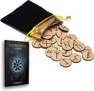 comprar comparacion 25 de madera runas piedra bolsa Set con diseño y significado pergamino (en inglés)