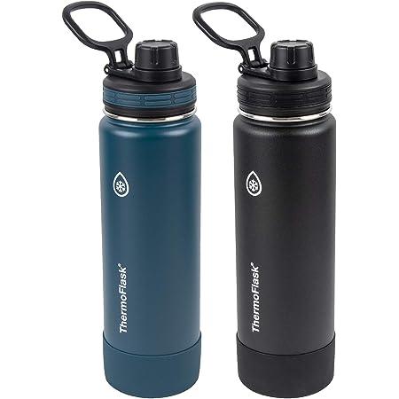ThermoFlask Botella de 24 onzas, paquete de 2 unidades, azul maya, negro