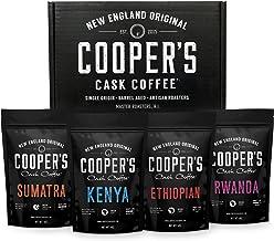 Gourmet Coffee Sampler Gift Box Set | Ground Coffee 4 bags | 1lb Total | Single Origin Organic Sumatra Dark, Kenya AA Medi...