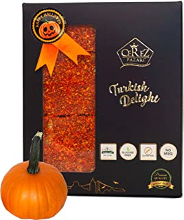 Cerez Pazari Pumpkin Turkish Delight Halloween Special Luxury Assorted %100 Handmade Lokum Candy Gourmet Gift Box Fantastic Pumpkin & Walnut Experience (20 Pcs) 17 oz