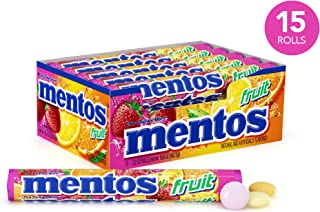 Mentos Chewy Mint Candy Roll, Fruit, Halloween Candy, Bulk, Party, Non Melting, 1.32 Oz, Pack of 15