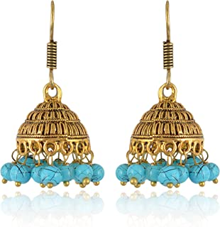 Subharpit Ethnic Green Gold Plated Jhumki Indian Earrings Jewelry for Girls and Women