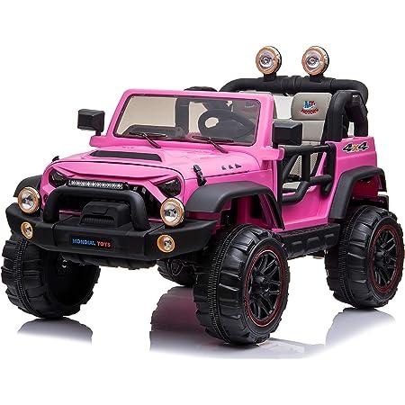 Mondial Toys Auto ELETTRICA 12V per Bambini 2 POSTI Maxi Fuoristrada con Telecomando 2.4G Soft Start AMMORTIZZATORI Full Optional Pink