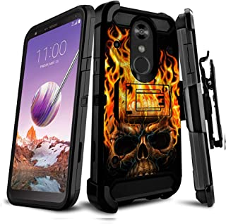 Untouchble Compatible with LG Stylo 4 / LG Q Stylus/LG Stylo 4 Plus, Holster Case [Tank Series] Triple Layer Inner TPU Bumper Two Piece Shell Kickstand Belt Clip Rugged Cover - Skull on Fire