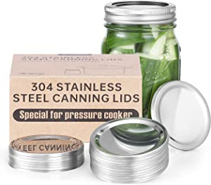 Stainless Steel Canning Lids, Special for Pressure Cooker, No Bulging & Buckled, Heavy Duty, Warp-resistant, Regular Mouth Mason Jar Lids For Bell (20-Pack)