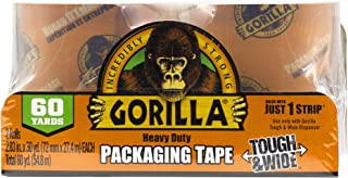 """Gorilla Packing Tape Tough & Wide Refill for Moving, Shipping and Storage, 2.83"""" x 30 yd, 2 Rolls"""