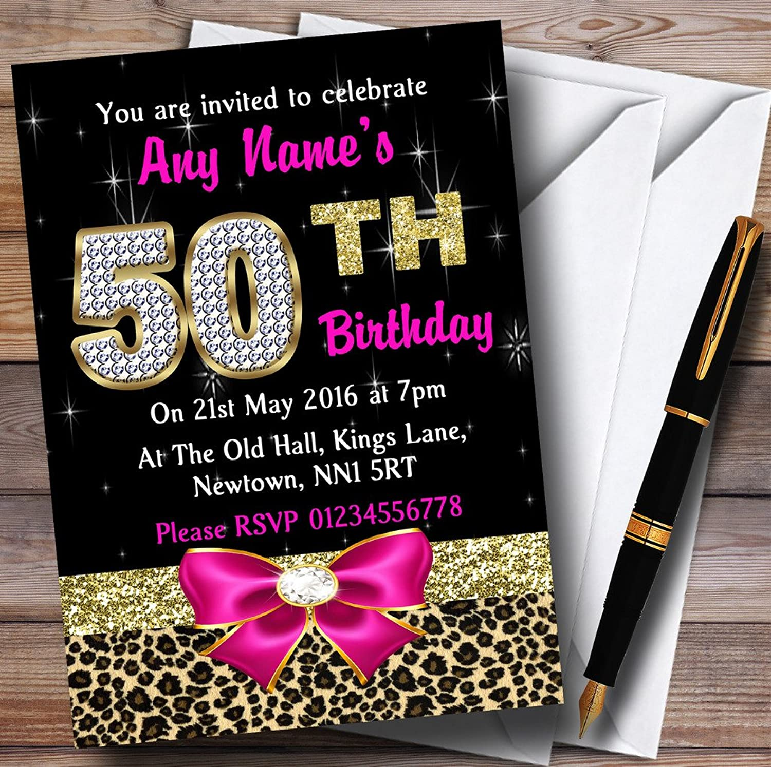 Pink Diamond And Leopard Print 50Th Birthday Party Personalised Invitations   Invites & Envelopes