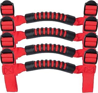Hooke Road Jeep Wrangler Red Straps 4 x Roll Bar Grab Grip Handles for 1955-2018 Jeep Wrangler YJ TJ JK JL Unlimited
